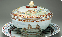Covered punchbowl with platter, ca. 1745