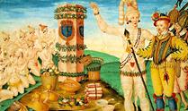Le Moyne, 'Athore shows Laudonnière the Marker Column set up by Ribault'