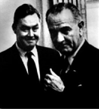 Daniel Patrick Moynihan and President Lyndon Baines Johnson, 1965.