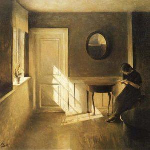 woman reading alone