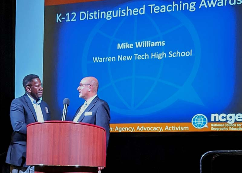 Mike Williams receiving NCGE award