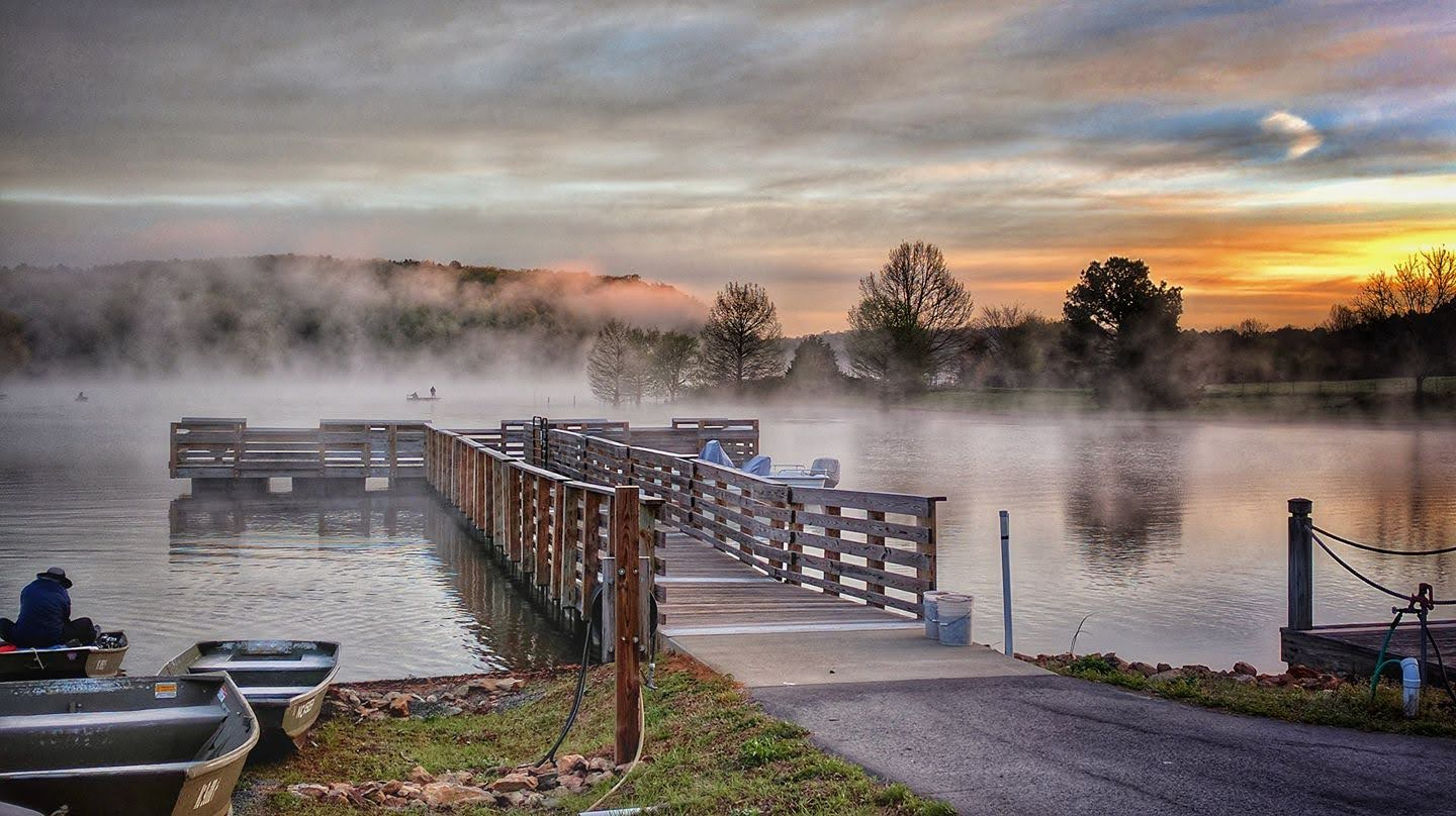 Docks at Dawn, Cane Creek Reservoir, Orange County, NC