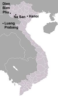 map of Vietnam showing Dien Bien Phu